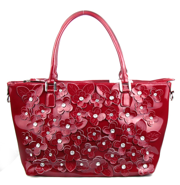 Red Rhinestone Flower Fashion Handbag