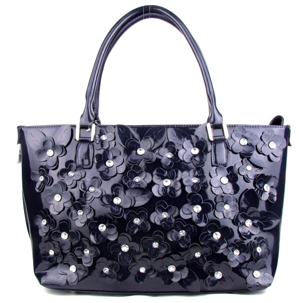 Purple Rhinestone Flower Fashion Handbag