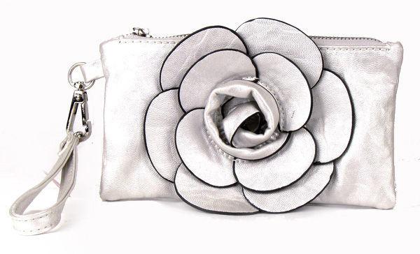 Small Silver Flower Wristlet Fashion Handbag