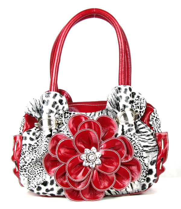 Leopard Red Flower Rhinestone  Fashion Handbag