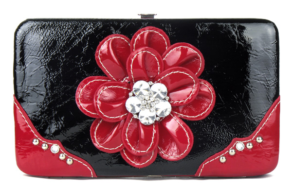 Red Flower Clutch Opera Wallet