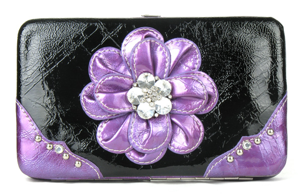 Purple Flower Clutch Opera Wallet
