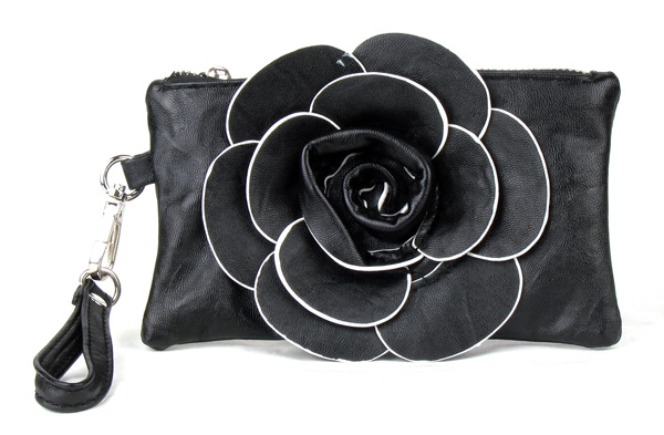 Small Black Flower Wristlet Fashion Handbag