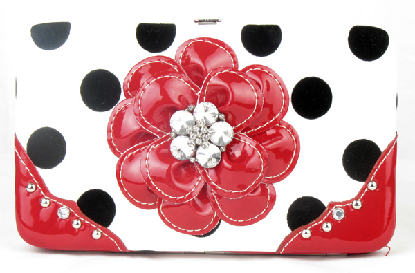 Polka Dot Red Flower Clutch Opera Wallet