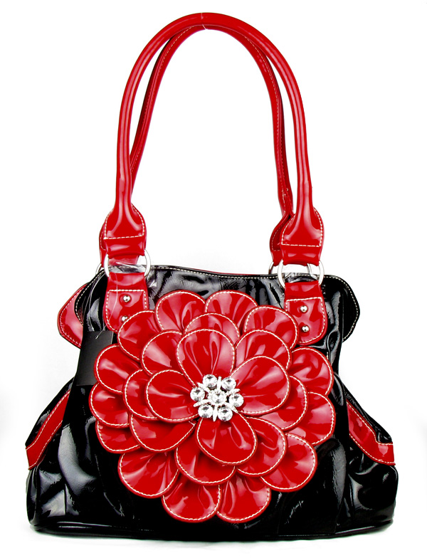 Black Red Flower Twist Clutch Flower Rhinestone Fashion Handbag