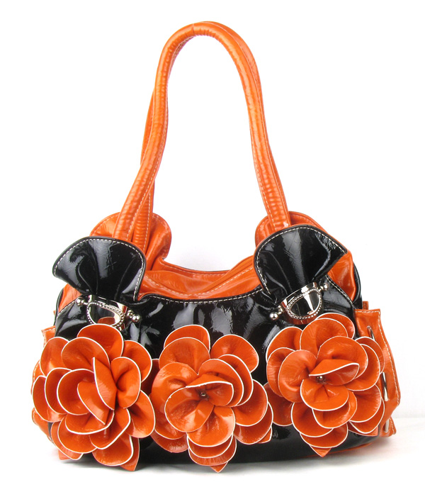Orange Flower Fashion Handbag
