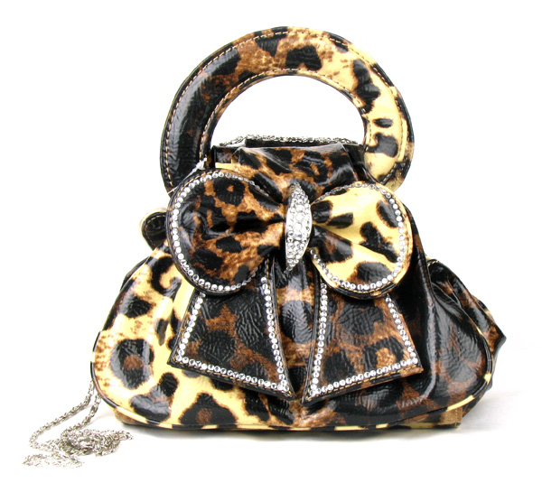 Light Coffee Leopard Rain Bow Rhinestone  Fashion Handbag