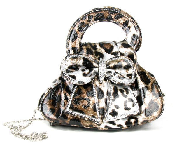 Grey Leopard Rain Bow Rhinestone  Fashion Handbag