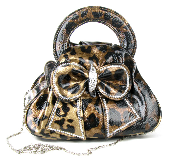 Coffee Leopard Rain Bow Rhinestone  Fashion Handbag