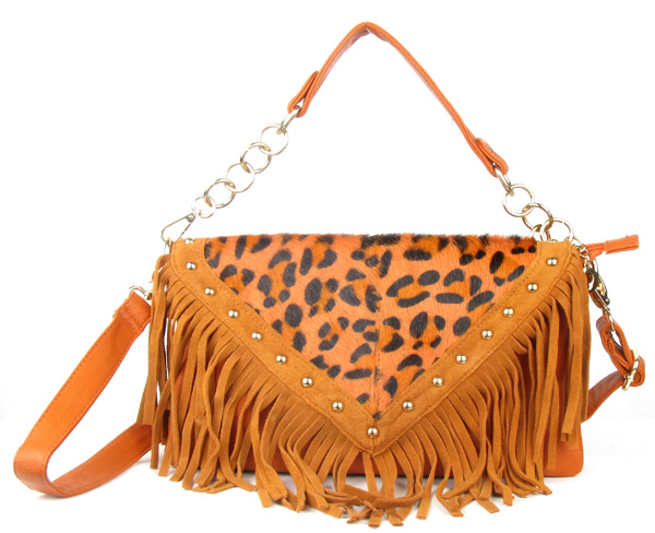 Orange Leopard Print Fringe Tassel Fashion Handag