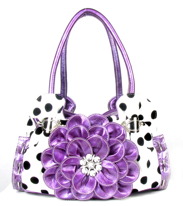 Polka Dot Purple Flower Rhinestone  Fashion Handbag