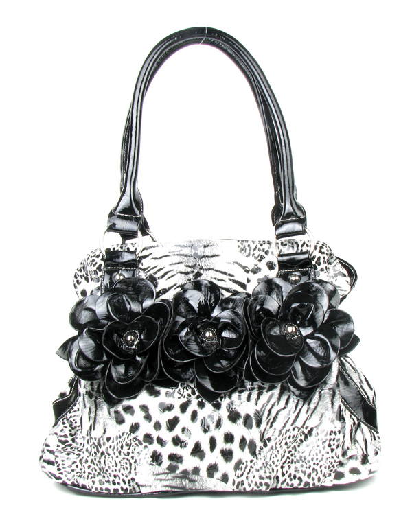 Black Leopard Twist Clutch Flower Fashion Handbag