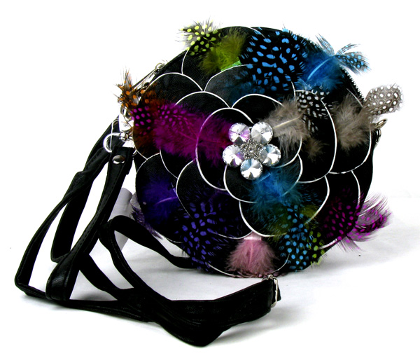 Small Circle Feather Black Flower Wristlet Fashion Handbag