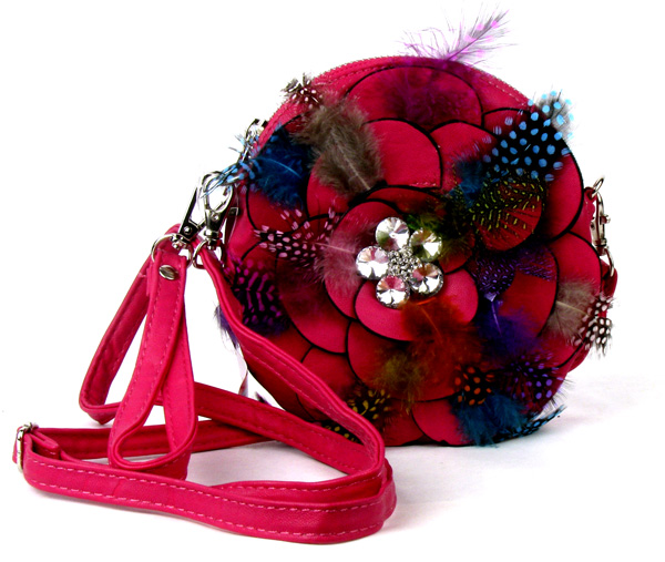 Small Circle Feather Pink Flower Wristlet Fashion Handbag