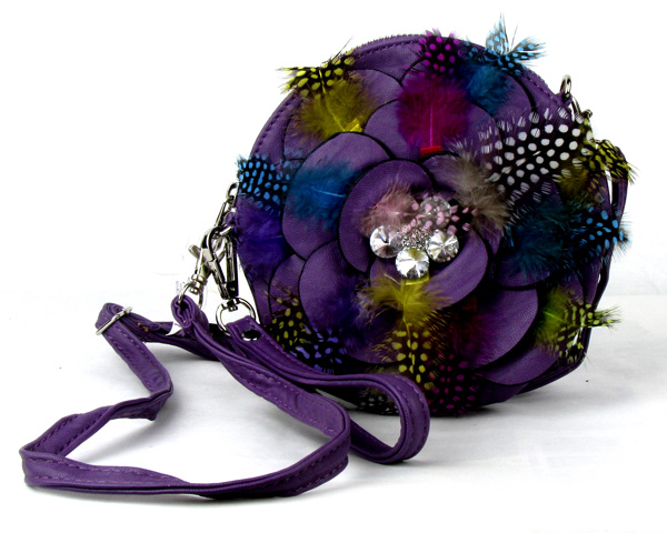 Small Circle Feather Purple Flower Wristlet Fashion Handbag