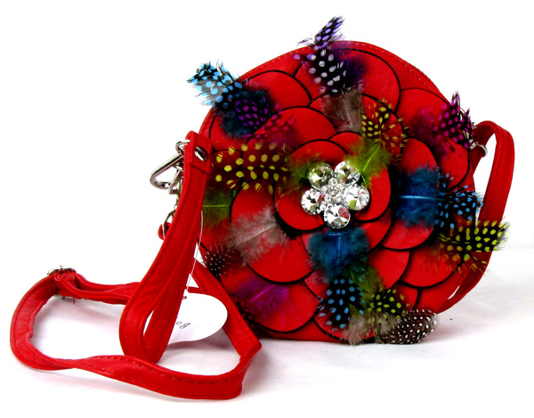 Small Circle Feather Red Flower Wristlet Fashion Handbag