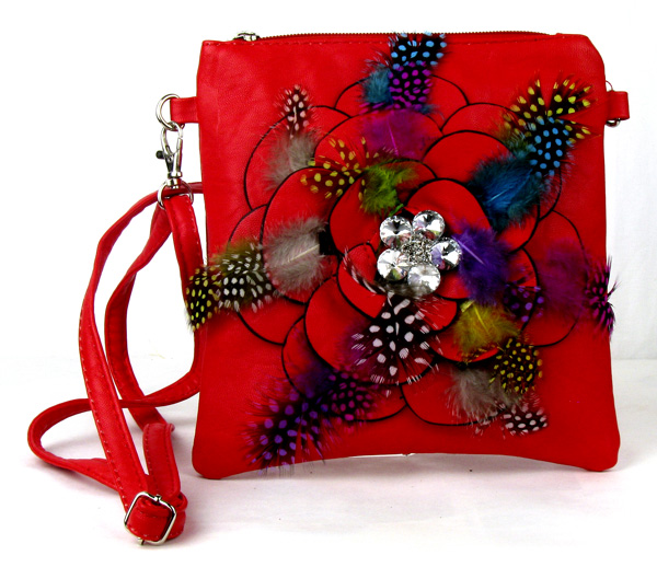 Small Feather Red Flower Fashion Handbag