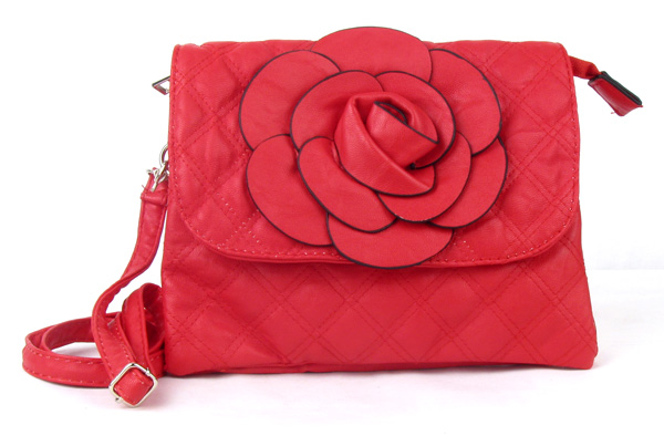 Small Quilted Red Flower Fashion Handbag