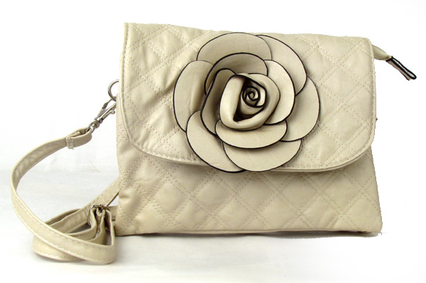 Small Quilted Beige Flower Fashion Handbag