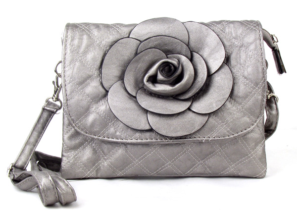 Small Quilted Gray Flower Fashion Handbag