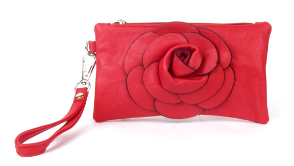 Small Red Flower Wristlet Fashion Handbag