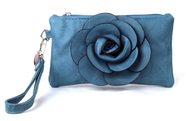 Small Blue Flower Wristlet Fashion Handbag