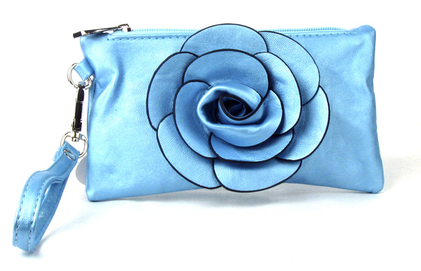 Small Light Blue Flower Wristlet Fashion Handbag