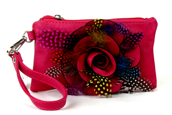 Small Feather Red Flower Wristlet Fashion Handbag