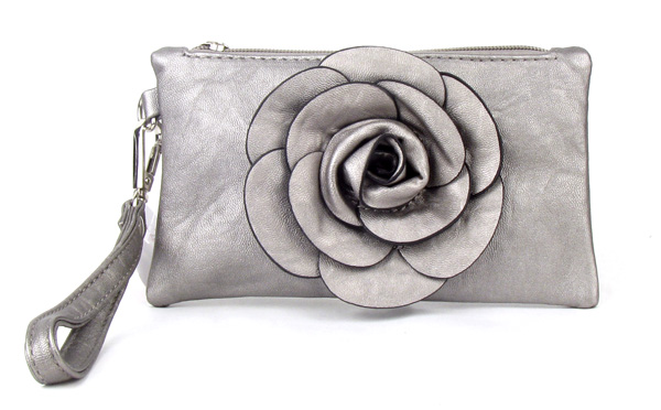 Small Gray Flower Wristlet Fashion Handbag