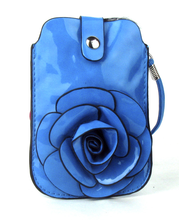 Small Cell Phone Blue Flower Fashion Purse