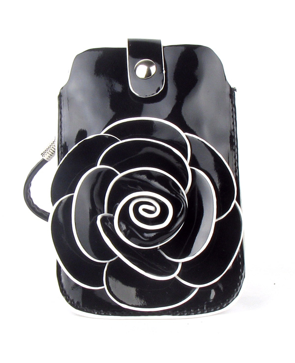 Small Cell Phone Black Flower Fashion Purse