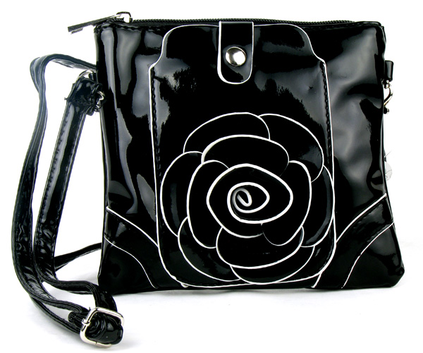 Small Cell Phone Flower Black Fashion Handbag