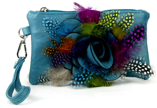 Small Feather Blue Flower Wristlet Fashion Handbag