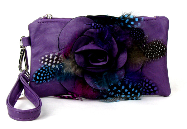 Small Feather Purple Flower Wristlet Fashion Handbag