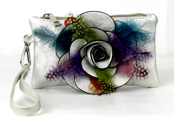 Small Feather Silver Flower Wristlet Fashion Handbag