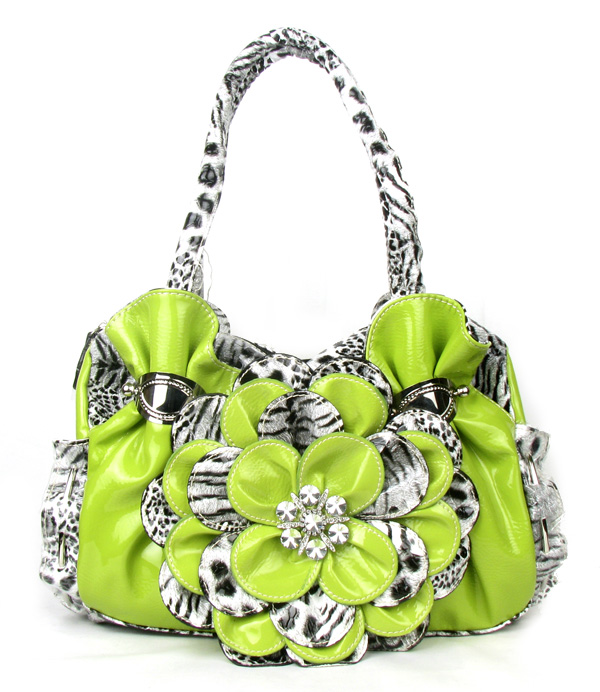 Green Leopard Flower Rhinestone  Fashion Handbag