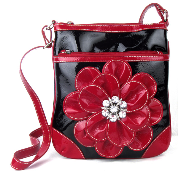 Black Red Flower Rhinestone Messenger Handbag