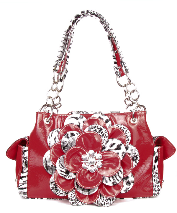 Leopard Red Flower Rhinestone Handbag