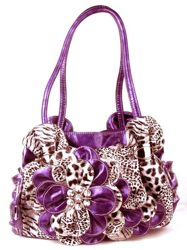 Leopard Purple Flower Rhinestone  Fashion Handbag