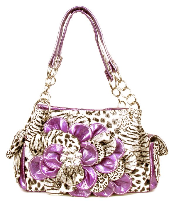 Purple Leopard Flower Rhinestone Pocket Handbag