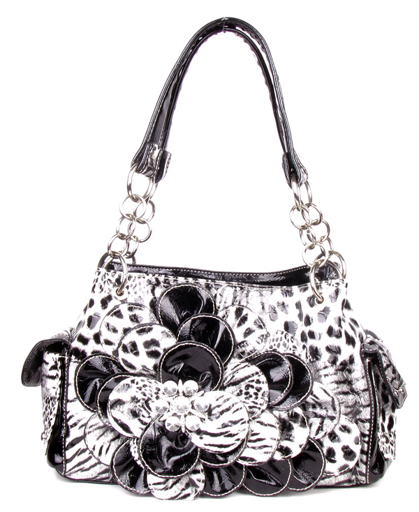 Black Leopard Flower Rhinestone Pocket Handbag