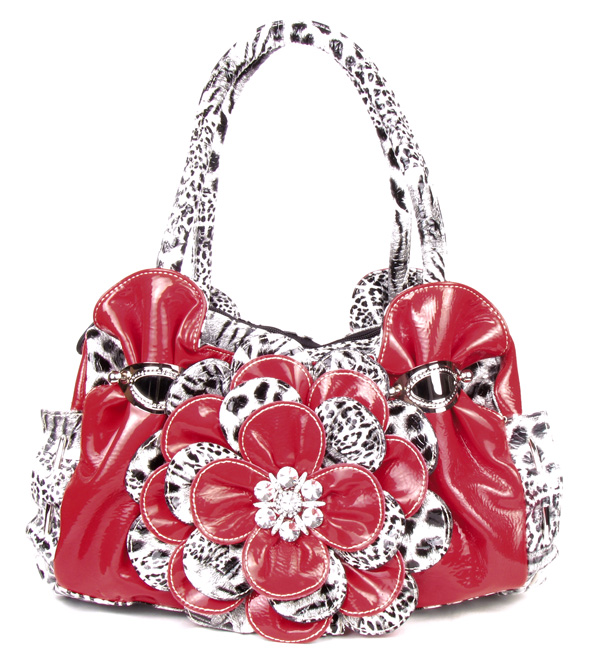 Red Leopard Flower Rhinestone  Fashion Handbag