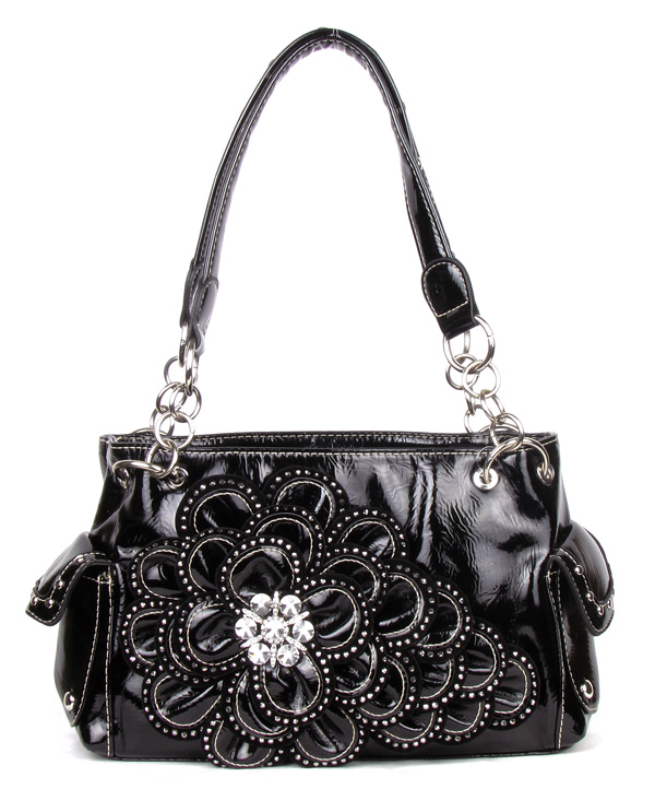 Black Black Rhinestone Flower Pocket Handbag