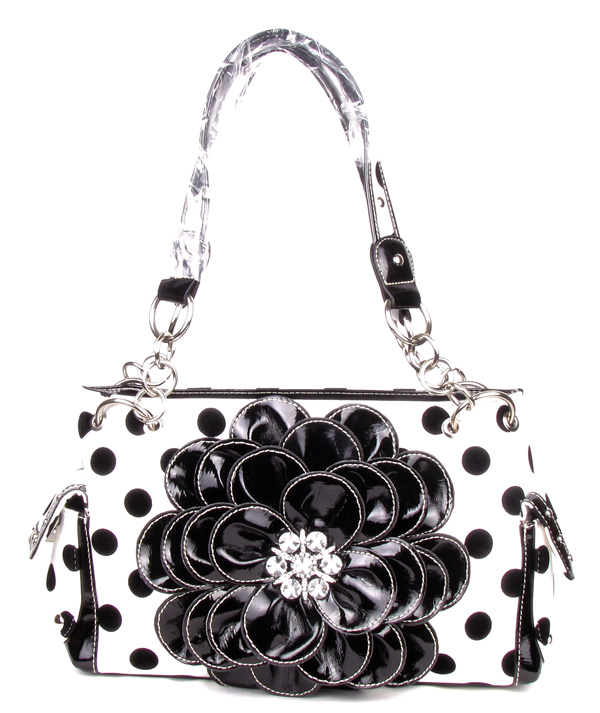 Polka Dot Metal Chain Black Rhinestone Flower Pocket Handbag