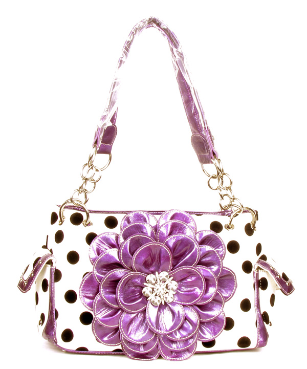 Polka Dot Metal Chain Purple Rhinestone Flower Pocket Handbag