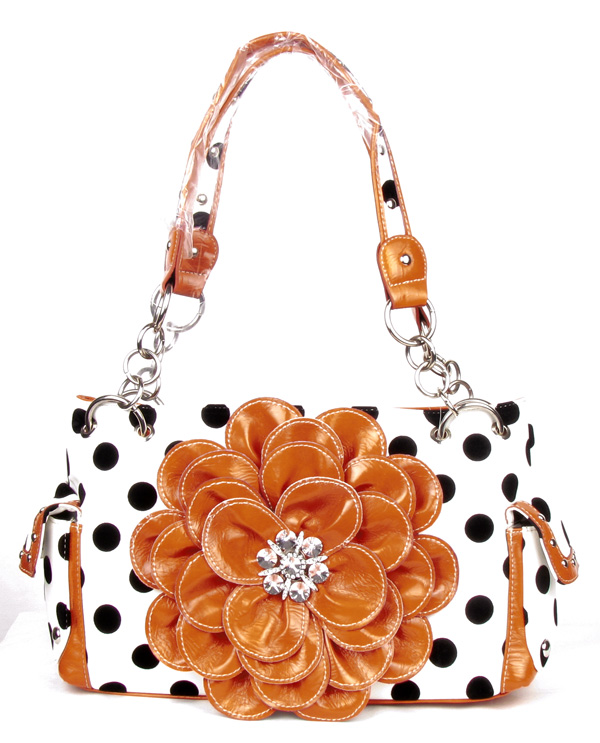 Polka Dot Metal Chain Orange Rhinestone Flower Pocket Handbag