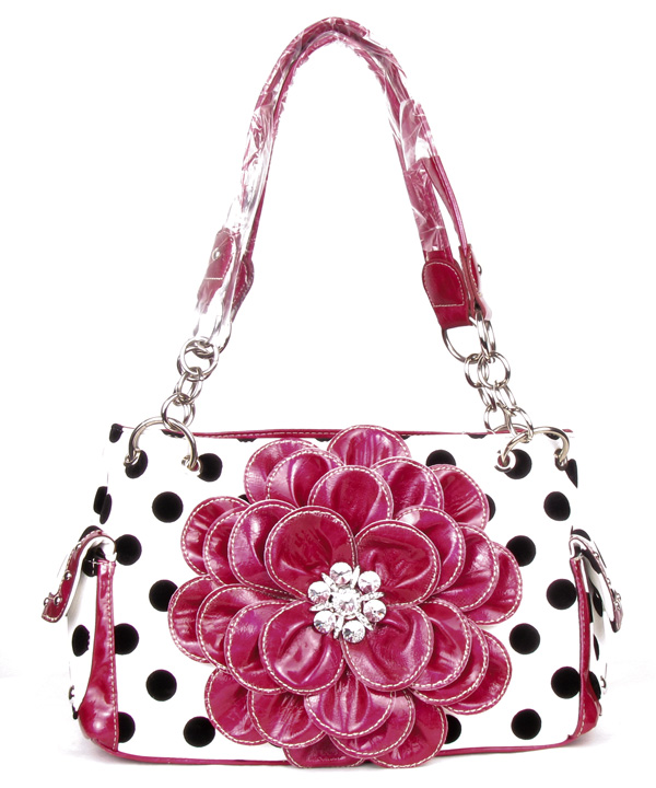 Polka Dot Metal Chain Pink Rhinestone Flower Pocket Handbag