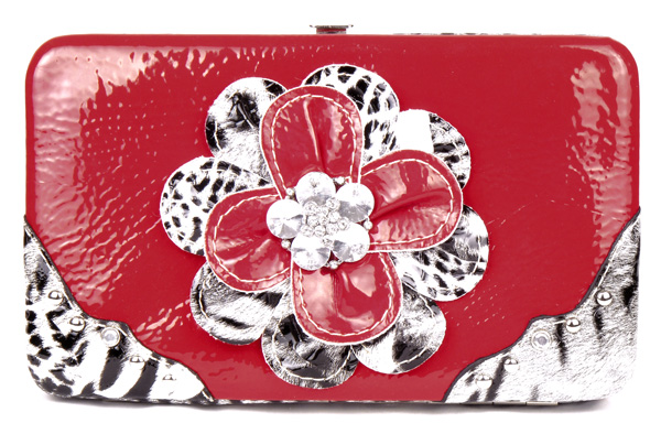 Leopard Red Flower Clutch Opera Wallet
