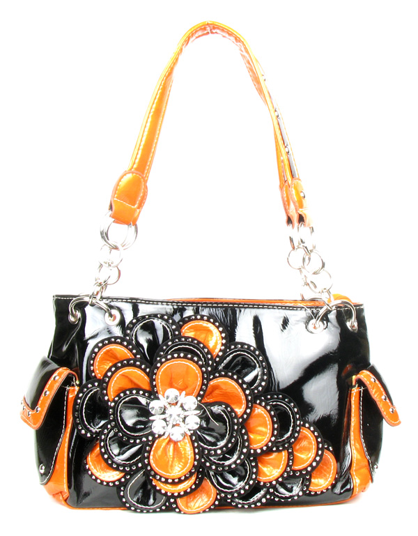 Black Orange Rhinestone Flower Pocket Handbag
