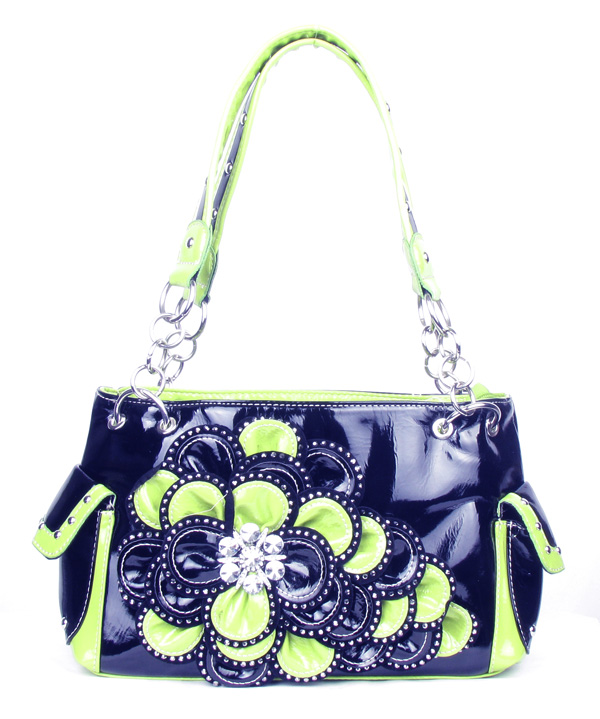 Black Green Rhinestone Flower Pocket Handbag